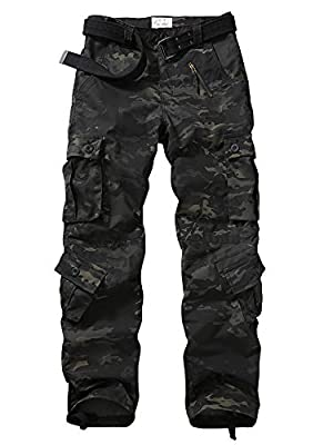 Hellmie Men's Tactical Pants with Multiple Pockets Men's Military Tactical Casual Camouflage Pants Hiking Pants