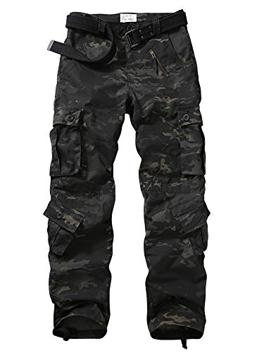 Hellmei Men's Tactical Pants with Multiple Pockets Military Camo Casual Pants Hiking Combat Pants