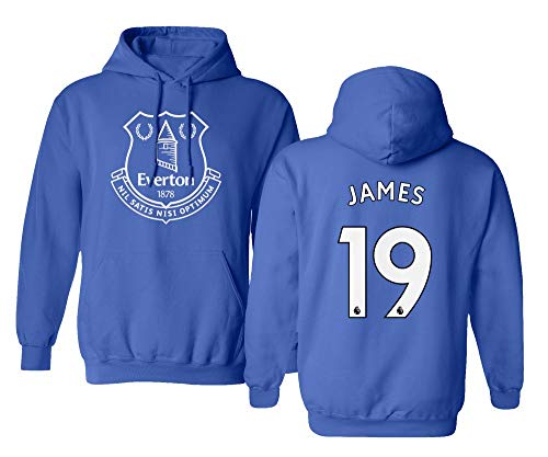 Spark Apparel Merseyside Blue #19 James Rodriguez Jersey Style Men's Hooded Sweatshirt (Royal, Medium)