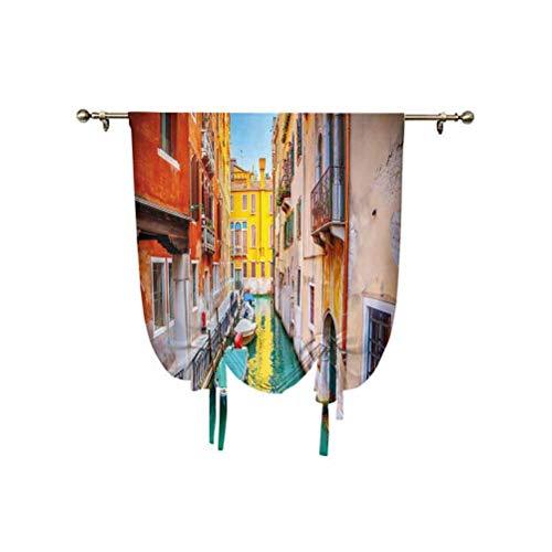 Venice - Cortina opaca con aislamiento térmico para ventanas pequeñas, diseño de canales, góndolas, color verde