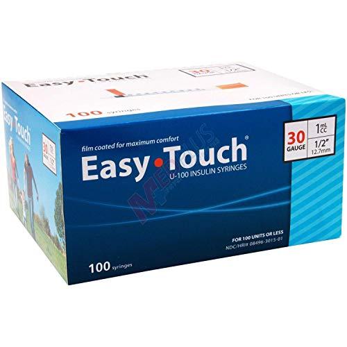 Easy Touch Syringes, 30 Gauge 1cc ½, 100 Syringes Each Box (0.5 30Gx1/2)