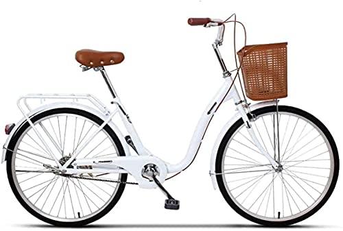 YANGHAO-Bicicleta de montaña para adultos- Bici del crucero para mujer Bicicleta de la playa de la playa de la playa, marco de aluminio de 6 velocidades, marcos de aluminio de acero medio, Ciudad de l
