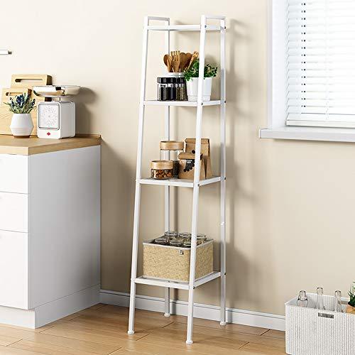 SogesHome Estantería de 4 niveles, estantes de metal, estante de almacenamiento, estantería para el hogar, estantería de almacenamiento, estantes de pie, negro, 35,5 x 30 x 147 cm, SH-LXH-TJ30W