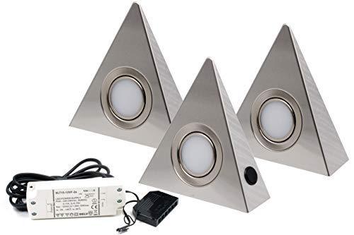 3er Set LED Dreieckleuchte Unterbauleuchte Küchenleuchte EDELSTAHL 3x3W Warmweiß 3000K mit Zentralschalter