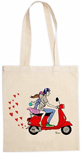 rigolobo San Valentino–Tote-Bag gli amanti, firmato dal famoso Pacco–Donna–Beige