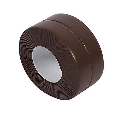 KaLaiXing Tub and Wall Caulk Strip. Kitchen Caulk Tape Bathroom Wall Sealing Tape Waterproof Self-Adhesive Decorative Trim-Brown