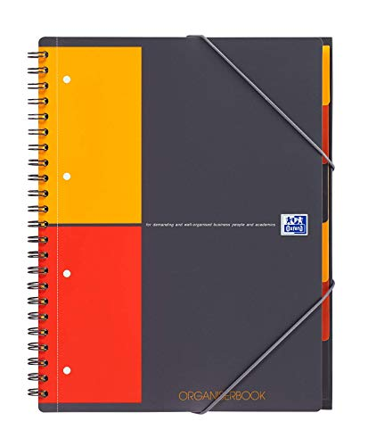 Oxford International Organiserbook A4, kariert, mit Gummizug, Register und Dokumententasche, grau
