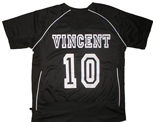 PATOUTATIS - t-Shirt - Maillot Foot personnalisé avec prénom et numéro de Votre Choix - Manches Courtes col V - JN386K - Noir - Enfant Taille S - 110/116 cm