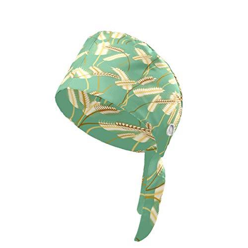 Pflanzen-Gerstengras-Körner-Schrubbe-Hut mit Knopf-Schweißband, Turban-Kappe für Damen und Herren, Unisex, Arbeitsmütze, verstellbare Krawatte