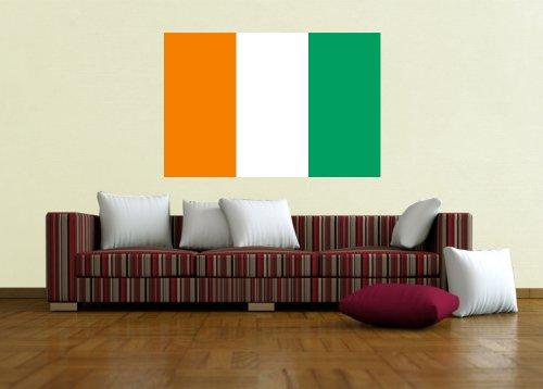 Kiwistar Wandtattoo Sticker Fahne Flagge Aufkleber Elfenbeinküste 80 x 53cm