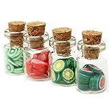 JujubeZAO 4 Stück/Set 1/12 Puppenhaus Miniatur künstliche Obststücke Dosen Flaschen Home Decor...