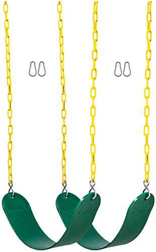 For Sale! Safe Kidz 2 Pack Heavy Duty Swing Seats - 66 Chain Plastic Coated - Playground Swing Set ...