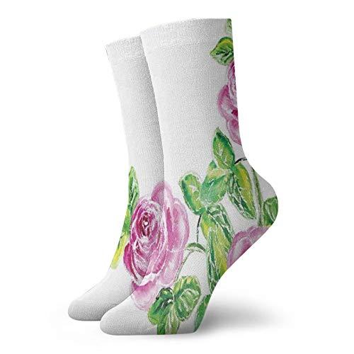 Calcetines suaves de longitud media de pantorrilla, pintorescos figuras de rosas dramáticas con efecto agrietado, arte natural, calcetines para mujeres y hombres, ideales para correr