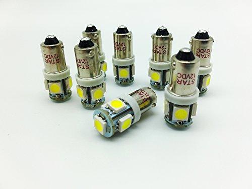 1156 BA9S 12vdc 5050 SMD 5 LED Car Dashboard Ampoules 1895 T4W 1445 6253 Couleur: blanc frais 6500k (paquet de 2)