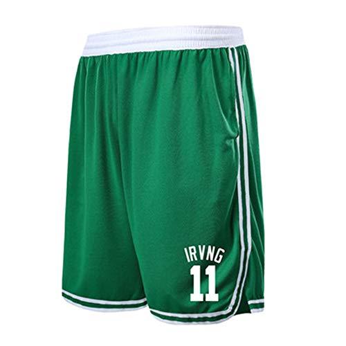 Boston Celtics Kyrie Irving # 11 Shorts da basket da uomo con tasche Tasche lunghe da ragazzo, pantaloncini da allenamento per sport fitness da uomo Pantaloncini allentati (2XL,B)