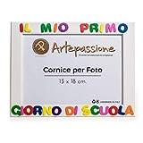 Artepassione Cornici per Foto in Legno con La Scritta Il Mio Primo Giorno di Scuola, Bianca, 13 x 18 cm