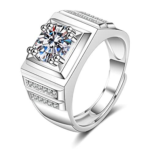 NIUBKLAS Compromiso de Boda romántica Diamante Zirconia cúbica Regalo de Lujo de Moda Anillo Cuadrado con Incrustaciones Ajustables