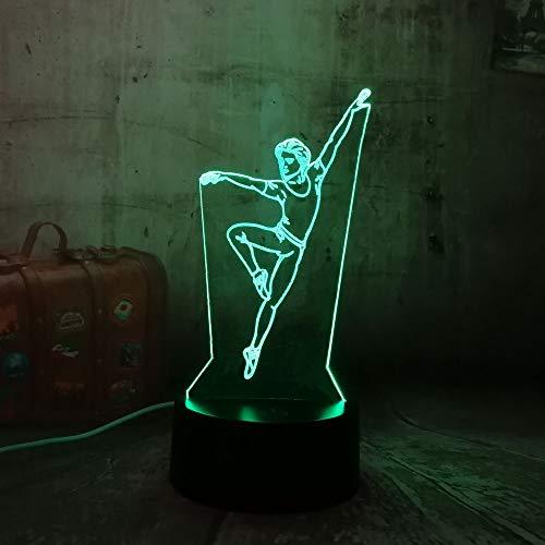 Jiushixw 3D acryl nachtlampje met afstandsbediening van kleur veranderende tafel licht danser kind mooi geschenk kamer kind batterij tafellamp