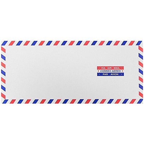 JAM PAPER #10 Airmail Envelopes - 4 1/8 x 9 1/2 - White - 50/Pack