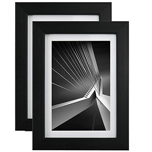GraduationMall Bilderrahmen 13x18 Schwarz mit Passepartout 10x15 cm, Echtes Glas, 2er Set Fotorahmen Wand- & Tischrahmen