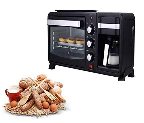 Petit-déjeuner Machine, automatiquesMachines 3-In-1 multifonction Machine à café électrique Four Grille-pain, avec des gants anti-brûlure kshu