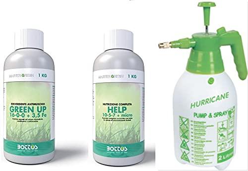 Bottos, Concime Green Up 1 Litro Rinverdente Acidificante Antimuschio per Tappeti Erbosi + Concime Help 10+5+7+Micro da 1 litro con Pompa Spruzzatore a Pressione 2L