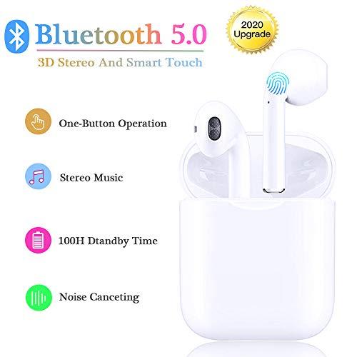 Cuffie Bluetooth 5.0 Senza Fili TWS Auricolari Hi-Fi Stereo Sportivi In Ear Cuffia Wireless con Custodia da Ricarica e HD Microfono resistente al sudore per Huawei Xiaomi Samsung iPhone iPad