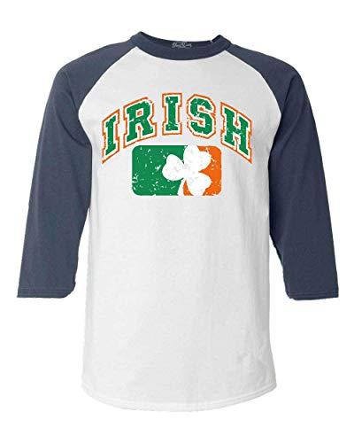 shop4ever Vintage Irish Flag Shamrock Baseball Shirt St. Patricks Day Raglan Shirt X-Small White/Navy
