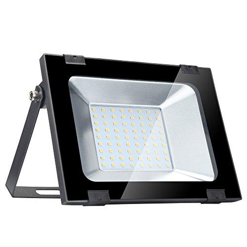 Yuanline Focos LED Exterior de Blanco Cálido 50W 5000LM, 2800-3200k, Ultrafino y Ultraligero para Jardín, Garaje, Patio, Estadio, Fábrica, Almacén, Cuadrado Resistente al Agua IP65