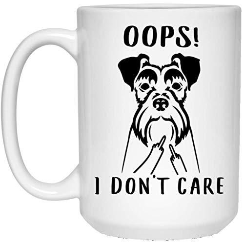N\A Divertido Schnauzer Miniatura OOP No me Importa el Dedo Medio Taza de café con Leche
