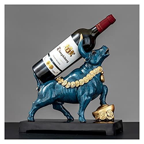 Estantes de vino Encimera de vino Estante de vino de pie libre Vaca de Vaca Azul Soportes para contador, Tetera de Botella de Vino, Titular de Botella Para Barra Gabinete De Licor, Tabla Mesa Mini Bar