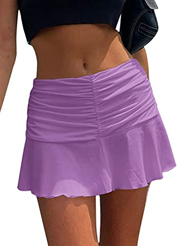 Meladyan Women Solid Y2K Ruched Ruffle Mini Skirt High Waist Athletic Tennis Skort A-Line E-Girl Short Skirts Purple