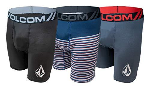 Volcom Mens Boxer Briefs 3 Pack Poly Spandex Performance Boxer Briefs Underwear (Black/Blue, Medium)