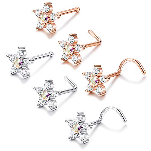 LOYALLOOK 6Pcs 20G Stainless Steel Silver/Rose Gold Flower Nose Rings Studs Piercing Body Jewelry Piercing CZ Inlaid