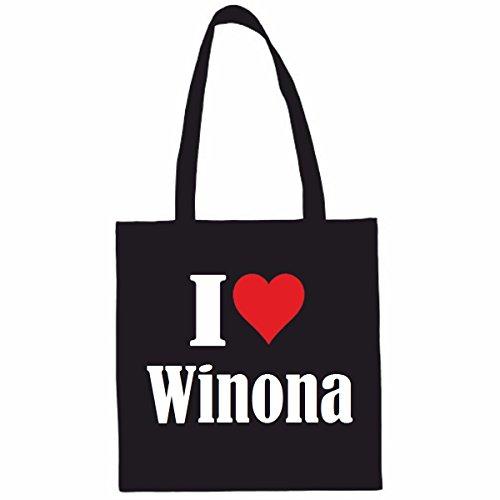 Reifen-Markt Tasche I Love Winona Größe 38x42 Farbe Schwarz Druck Weiss