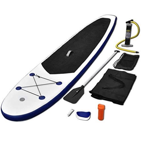 Festnight Juego de Tabla de Paddle Surf Hinchable Capacidad de Carga Máxima de 80 kg Azul y Blanco