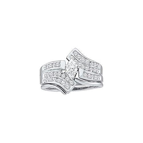 Anillo para mujer 1/2total Carat Weight Diamante Marquise Center boda boda Ring Set