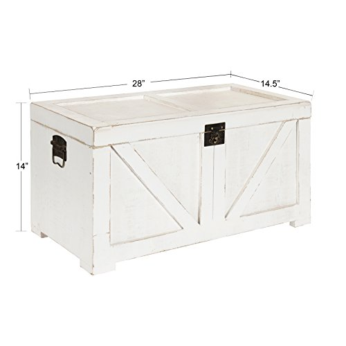 Kate and Laurel Cates Classic Farmhouse Small Wooden Storage Chest Trunk, Antique White with Vintage...