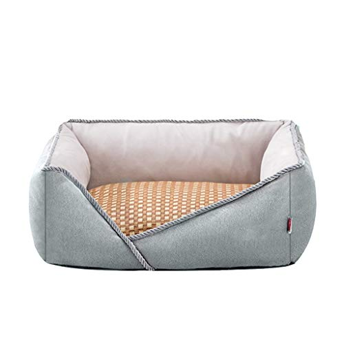 CS-YP Warm Huisdier bed, afneembaar/gemonteerd, huisdier hond thuis, meerdere totale kleuren (groot 95x75x24cm, marine) Comfortabel, 60x50x19cm, Grijs