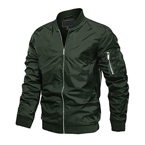 MAGCOMSEN Herren Herbstjacke Windbreaker Pilot Bomber Jacke Light Jacken Streetwear Draussen Jacken Mäntel Fliegerjacke Blouson Army Style Jacken Armeegrün 3XL (Etikett: 4XL)