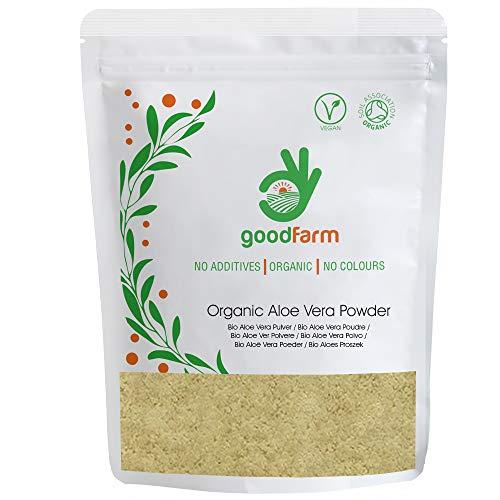 GoodFarm Bio Aloe Vera Pulver 500g - Premium Qualität, Zertifiziert Bio | Hervorragend für die Hautpflege geeignet | Vegan | Ayurveda