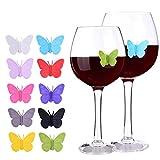 Eudoer Silikon-Wein-Charms, Glasmarker, 3D-Schmetterlinge, verschiedene Farben, personalisierte Getränke-Dekoration für Urlaub, Hochzeit, Geburtstag, Cocktail-Party, Dekoration