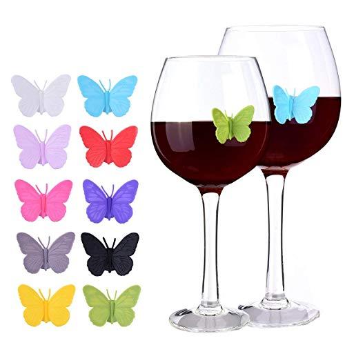 EudoER - Marcadores de Silicona para Vino, diseño de Mariposas en 3D, Personalizables, para decoración de Vacaciones, Bodas, cumpleaños, cócteles, Fiestas