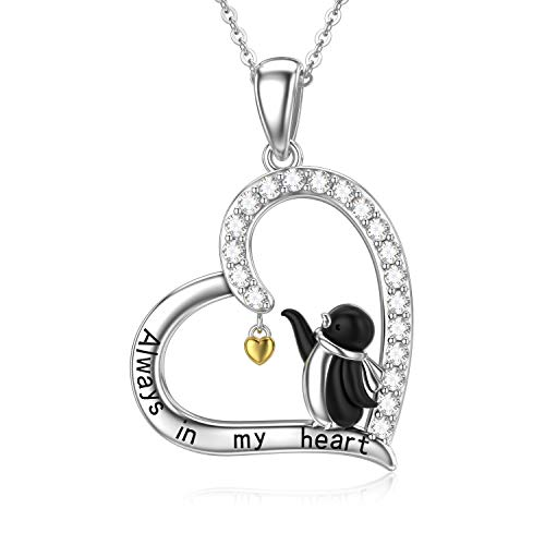 PELOVNY Lovely Penguin Necklace for Women Sterling Silver Animal Love Heart Pendant Necklace Penguin Jewelry Gift for Girlfriend
