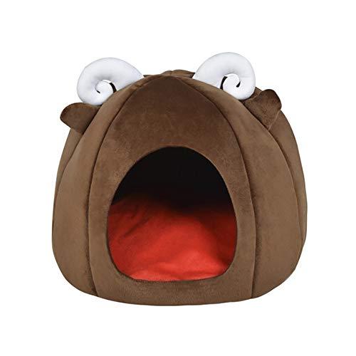 XMCWZJ Opvouwbaar winterhuisdierhuisje en het bed, hond kat zachte Oxford doek en korte pluche enkel, mat warm