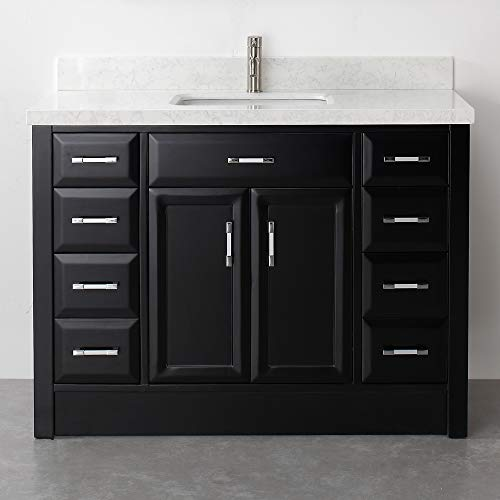 Calbe 48-inch Vanity Set in Espresso & Thick Diamond Quartz -