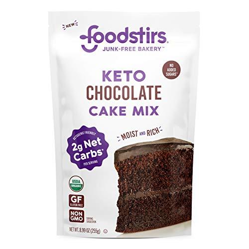 Foodstirs Junk-Free Bakery Organic Keto Chocolate Cake Baking Mix 8.99 oz | Low Carb Sweets & Treats | Non-GMO | Grain Free, Gluten Free | Healthy Diabetic, Paleo & Ketogenic Desserts | No Sugar Added