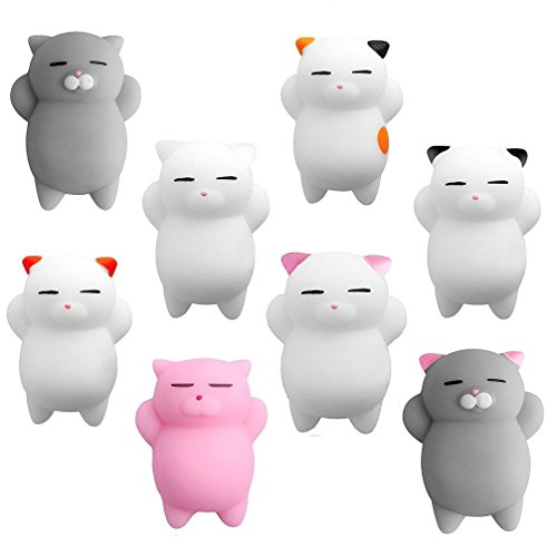 Aismart Squishies 8 Pcs Kawaii Squishy Toys Squishy Cats Stress Reduce Mochi Squishy Animals Easter Basket Stuffers, Easter Egg Fillers, Easter Toys