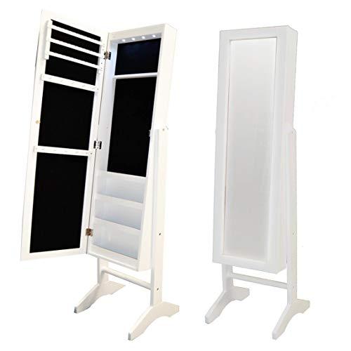 Style home Schmuckschrank Schmuckregal mit LED Licht, 2 in 1 Schmuckkasten Standspiegel Winkel Einstellbar Holz Weiß SJC375