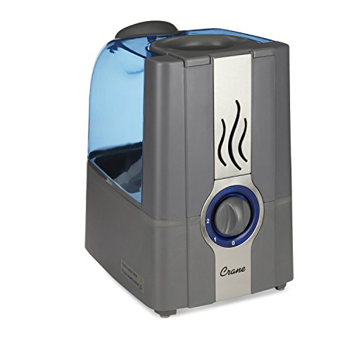 Crane Warm Mist Humidifier EE-5201GR, 1.0 Gallon, Filter Free, Whisper Quite, Germ Free Mist, for Home Bedroom and Office, Grey